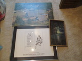 Japanese Village Photo Mounted on Board, James Kemp Framed Poster, and Framed Fabric Art