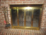 Brass and Glass Fireplace Doors with Screen and Fireplace Tool Set