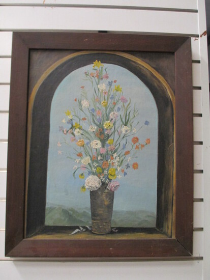 Framed Still-Life Floral In Arched Window