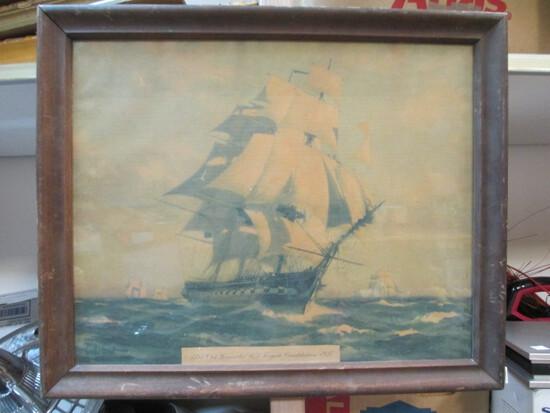 """""""1797 Old Ironsides US Frigate Constitution-1927"""" Framed Print"""