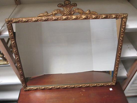 Heavy Mirror With Gilded Leaf Frame
