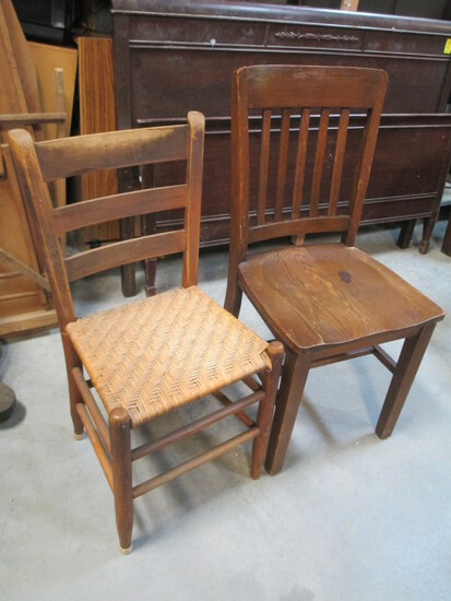 Wooden Side Chair And Cane Seat Side Chair