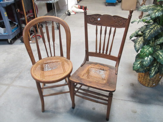 Two Cane Seat Side Chairs