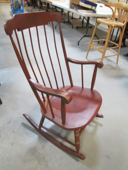 Barn Red Painted Rocker With Gilded Fruit Detailing