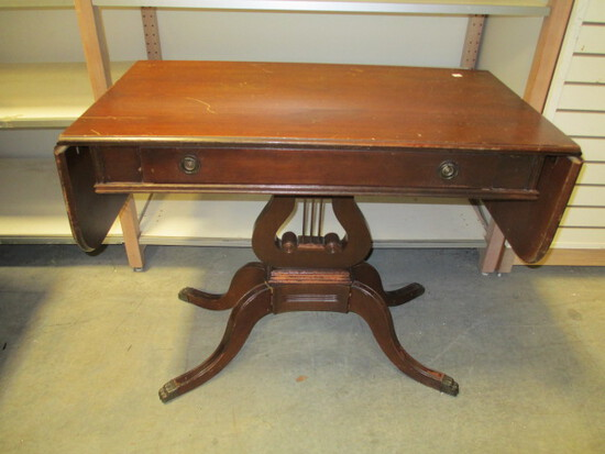 Drop-Leaf Harp Base Foyer Table With Drawer