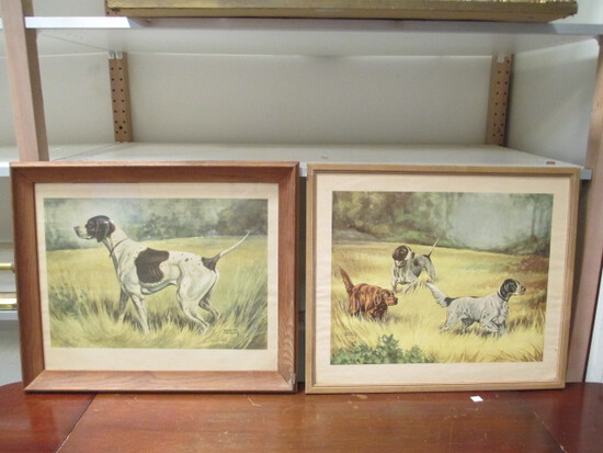 Pair Of Framed Hunting Dogs By Herb Chidley