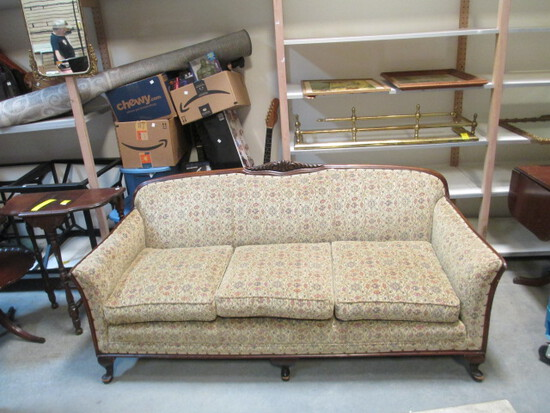 Wood Framed Tight Back Sofa With Brass Tacks