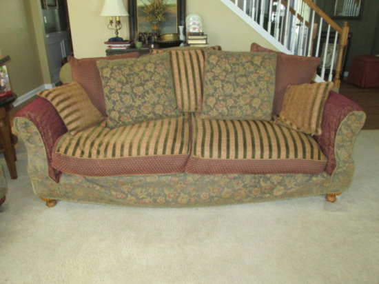 JM Paquet Custom Upholstered Furniture Sofa With Slipcover And Down  Cushions And Pillows
