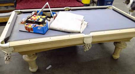 Pool Table   Artisan Designs By Advanced Billiards, USA. White Washed Wood  Rails On