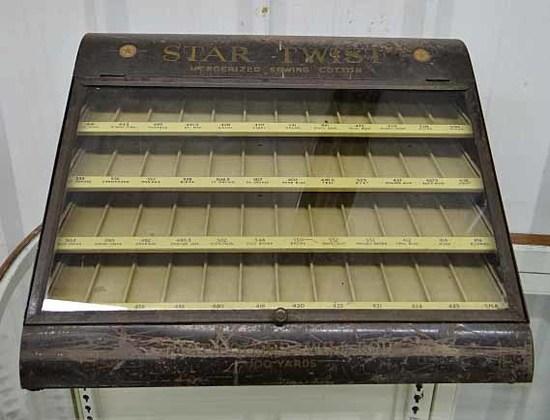 Antique Spool Cabinet Star Twist American Thread Company Metal