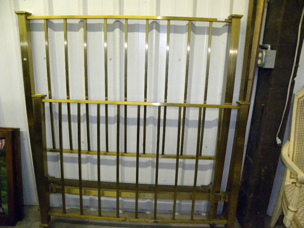 "Antique Full Size Brass Bed With 2"" Square Posts.  Headboard Stands 59"". Has Iron Rails."