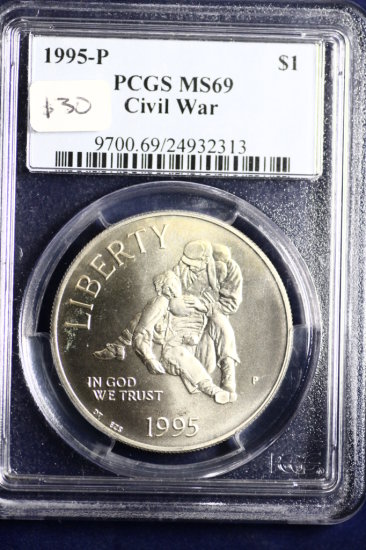 certified BU 1995 P Civil War US silver dollar