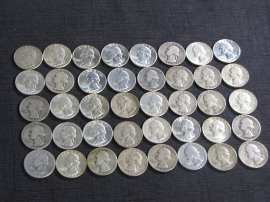 lot of 40 US silver quarters