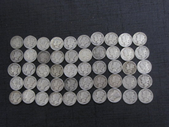 lot of 50 silver Mercury & Barber dimes