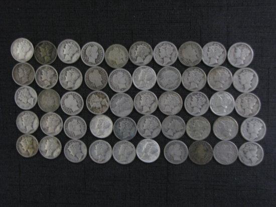 lot of 50 silver Mercury & Barber dimes