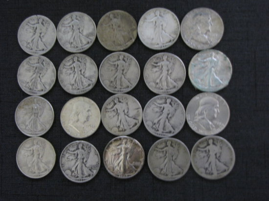 roll of 20 US silver half dollars