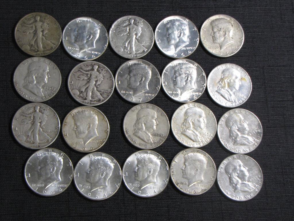lot of 20 US silver half dollars