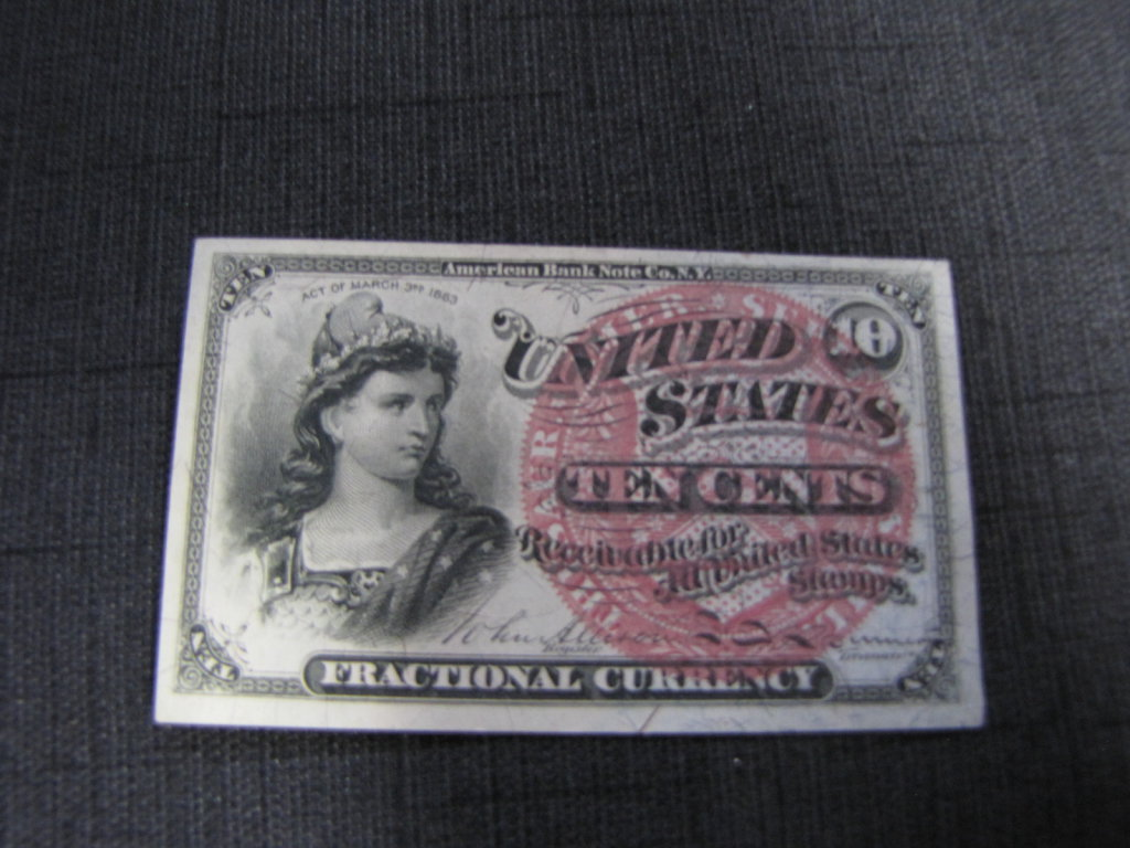 1863 fractional currency 10 cents