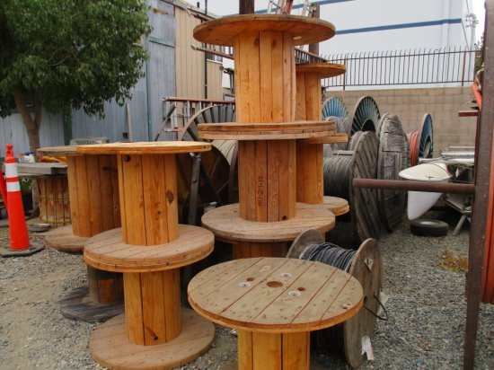 Lot Of Misc Metal & Wooden Spools & Cable