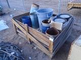Lot Of Metal Trash Cans & Plastic Bucket Lids