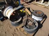 (4) Truck Rims, Scrap Metal, 6 Amp Electric Motor,