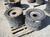 (4) Cushion Rubber Skid Steer Tires & Rims