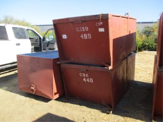 """(3) 8' x 4' x 3' 2"""" Metal Dump Bins"""