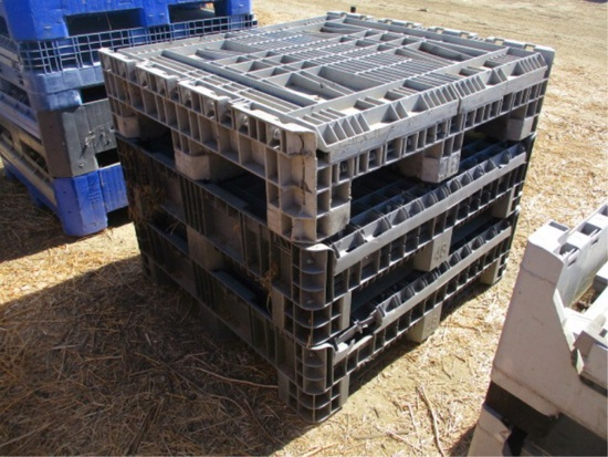 (3) Fold Down Plastic Crates W/Fork Holes