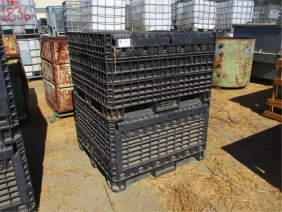 (2) Fold Down Plastic Crates W/Fork Holes