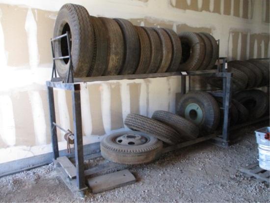 Metal Tire Rack W/(17) Misc Rims & Tires,