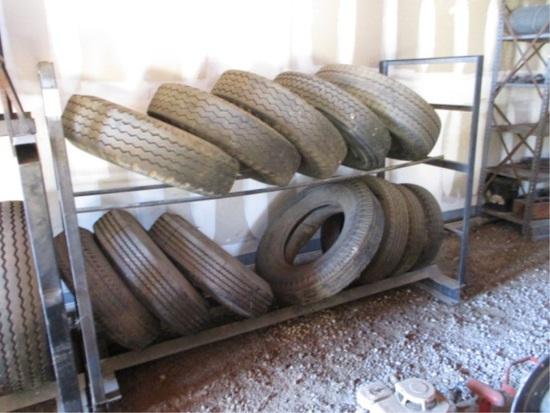 Metal Tire Rack W/(12) Misc Rims & Tires,