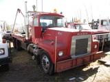 Mack RS700L T/A Flatbed Crane Lift Truck,