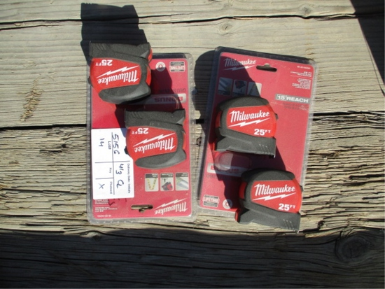 Lot Of Unused Milwaukee 25' Tape Measures,