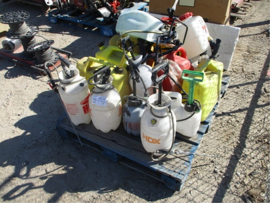 Lot Of (6) Diesel Cans & (8) Misc Sprayers