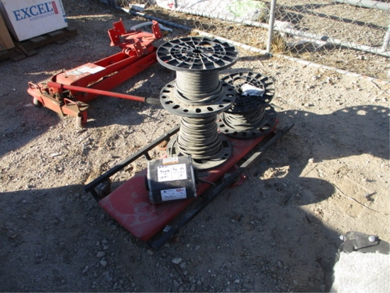Lot Of (3) Rolls Of Electrical Wire & (1) Motor