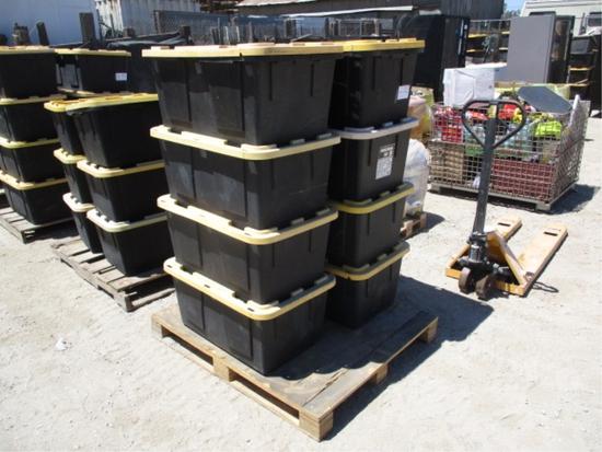 (4) Plastic Storage Bins W/Misc Items,