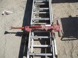 Lot Of (2) Misc Aluminum Ladders & Air Jack Hammer