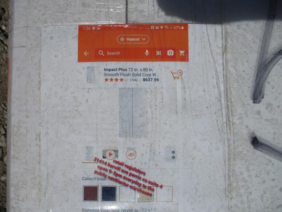 """Impact Plus 60"""" x 80"""" Flush Solid Core MDF Door"""