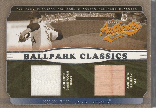 pretty nice 2ec2c 3b457 NOLAN RYAN 2002 FLEER AUTHENTIX BALLPARK CLASSICS DUAL GAME ...