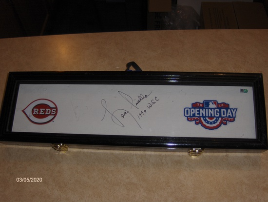 LOU PINIELLA AUTOGRAPHED CINCINNATI REDS COMMEMORATIVE FULL SIZE PITCHING RUBBER WITH DISPLAY CASE