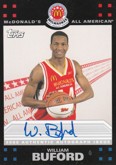 WILLIAM BUFORD 2008 TOPPS MCDONALDS ALL-AMERICAN AUTOGRAPH CARD