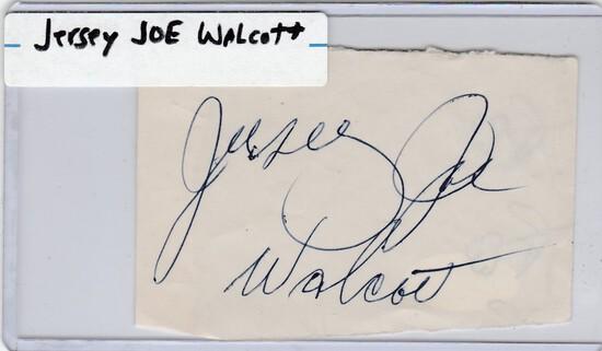 JERSEY JOE WALCOTT AUTOGRAPHED PAGE WITH COA