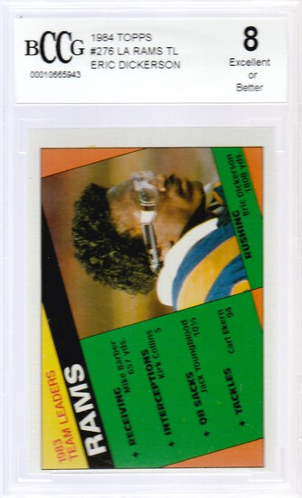 1984 TOPPS CARD #276 RAMS TEAM LEADERS ERIC DICKERSON / GRADED