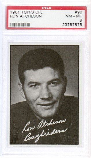 RON ATCHESON 1961 TOPPS CFL CARD #90 / GRADED