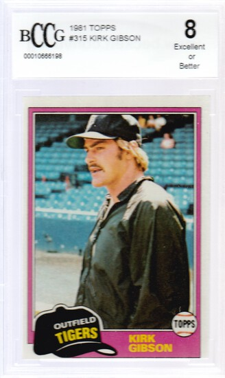KIRK GIBSON 1981 TOPPS ROOKIE CARD #315 / GRADED