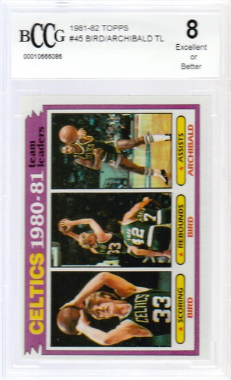 1981/82 TOPPS CARD #45 / CELTICS LEADERS BIRD / GRADED