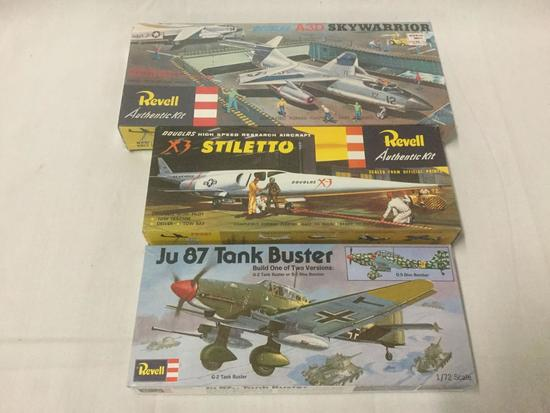 3 vintage military plastic aircraft model kits by Revell