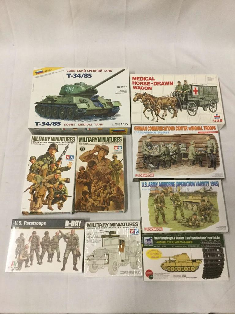 Lot: 9 1/35 scale military model kits - 2 sealed/7 unsealed