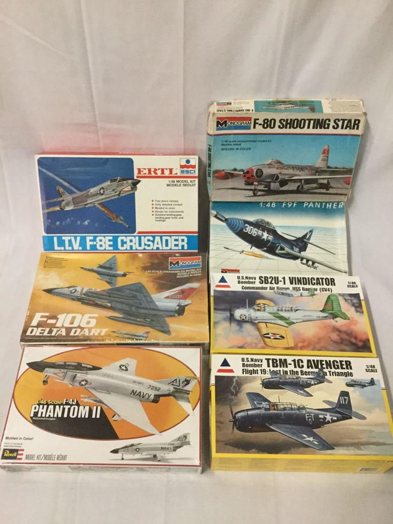 Lot: 7 military aircraft model kits 1/48 scale - Revell, Monogram