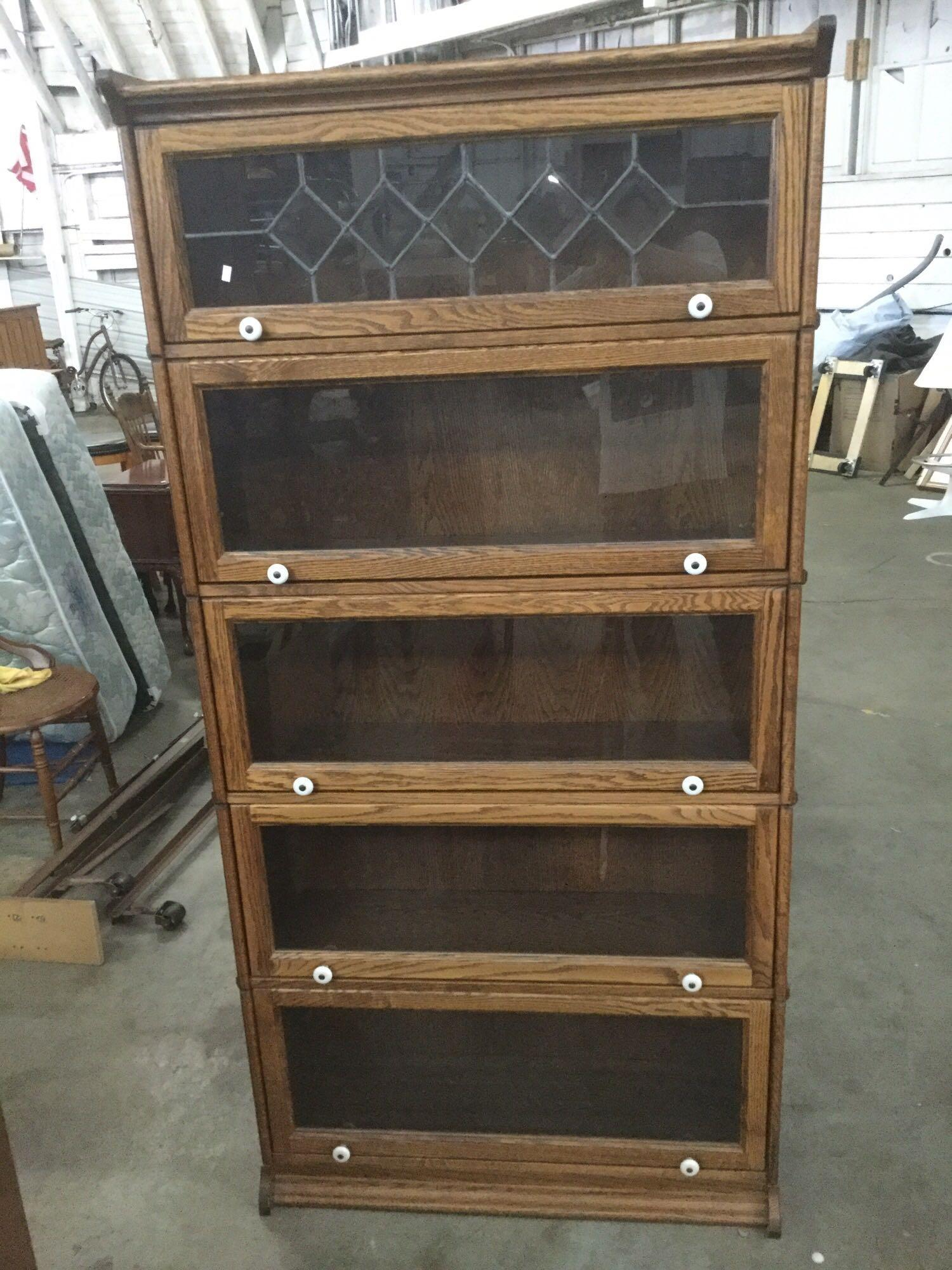 Vintage Oak 5 Drawer Leaded Glass Top Lawyers Barristers